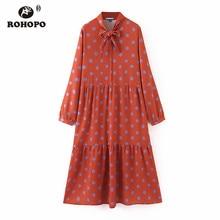ROHOPO Blue Polk Dot Three Cake Layers Ruffled Red Midi Dress Tie Collar Long Sleeve Autumn Elegant Mid-Calf Vestido #2270
