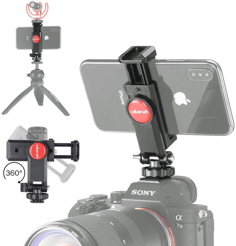 Ulanzi ST-06 Camera Hot Shoe Tripé Telefone Montar Rotação de 360 Mic Telefone Monitor de DSLR Adaptador de Montagem de Sapata Fria para Cardan DIODO EMISSOR de Luz