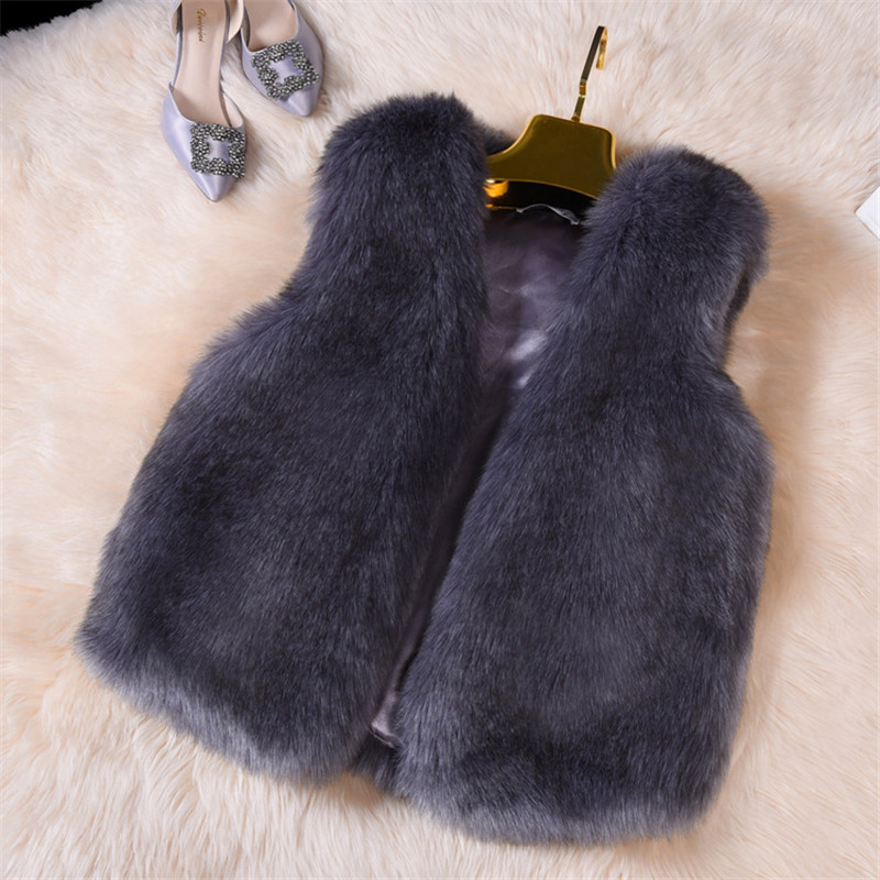 2019 Faux Fur Coat Fashion Women Coat Winter Warm Furry Elegant Ladies Vest Jackets Fluffy Fox Fur Gilet Winter Female Overcoat