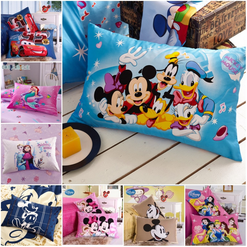 Disney New 100% Cotton Pillowcases 2Pcs Mc Queen Car 95 Frozen Mermaid Couple Pillow Cover Decorative PillowsCase 48x74cm