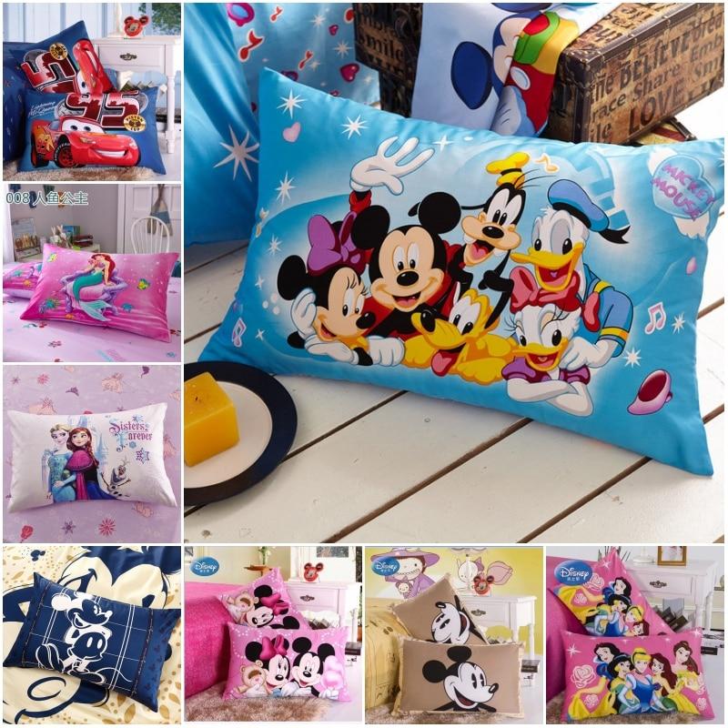 Disney New 100% Cotton Pillowcases 2Pcs Mc Queen Car 95 Frozen Mermaid Couple Pillow Cover Decorative PillowsCase 48x74cm