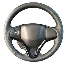 Couro genuíno cobertura de volante do carro para honda nova cidade apto jazz 2014 2015 hrv HR-V 2016vezel/volante guidão trança