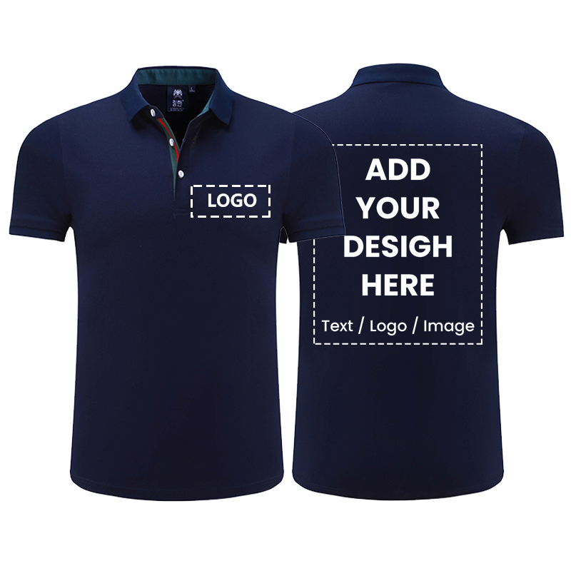 Top Quality Short Sleeve Solid Classic Polo Shirt Custom Polo Shirt Men Printed Design Photo Logo Business Staff Company Uniform