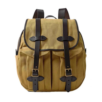 Oil wax canvas men and women shoulder bag stitching vegetable tanned leather leisure backpack high quality outdoor hiking bag