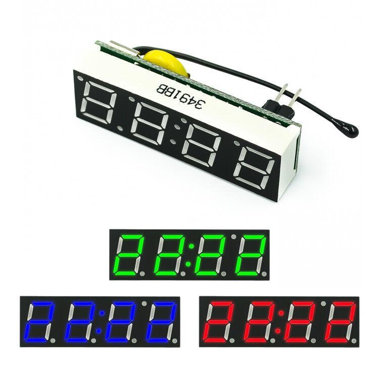 Красные, синие зеленый 3 в 1 светодиодный DS3231SN RX8025T цифровые часы Температура Напряжение модуль Время термометр Вольтметр доска DC 5V-30V