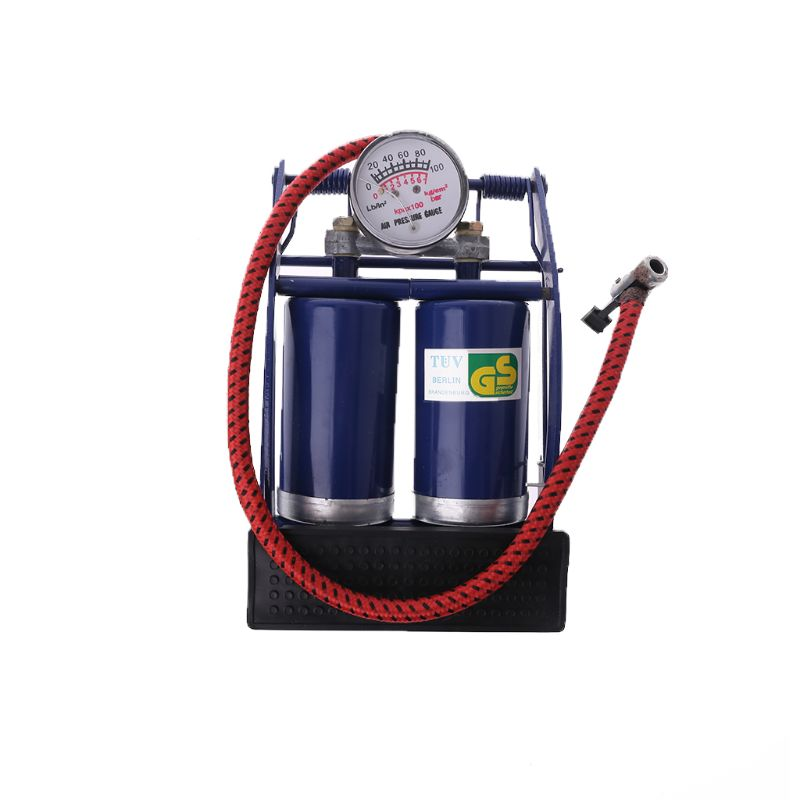 Double Twin Barrel Cylinder Air Inflator Foot Pump Car Van Bicycle Bike Tyre title=