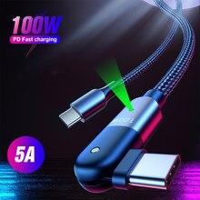 5a usb tipo-c para tipo c pd cabo de carregamento rápido 60w/100w 180 graus de rotação cotovelo tipo c dados kable para samsung huawei xiaomi