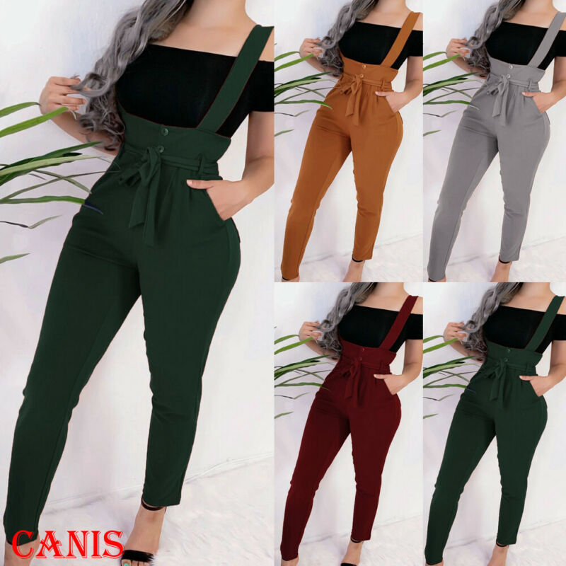 New Fashion Women's Overall Jumpsuit Straps Romper High Waist Trousers Autumn Ladies Casual Playsuits Belt Pants