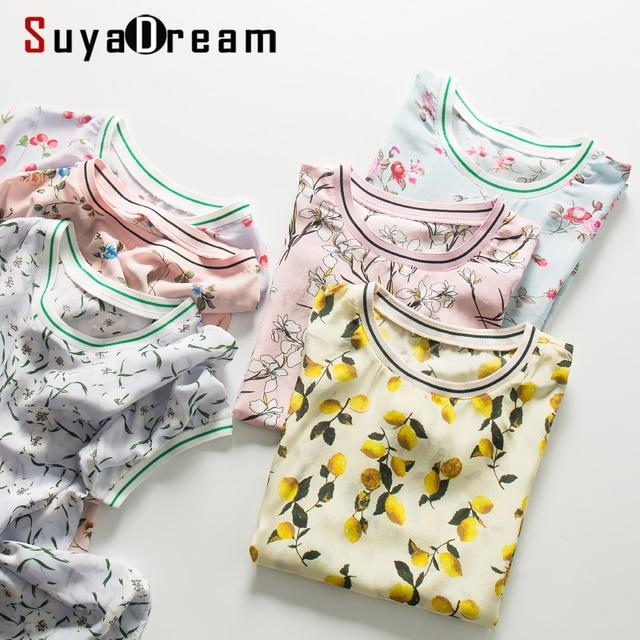 $ US $28.52 Women Silk Shirt 100%Silk Crepe Floral Printed T shirt Short Sleeved Silk Top 2020 New Summer Print Shirt