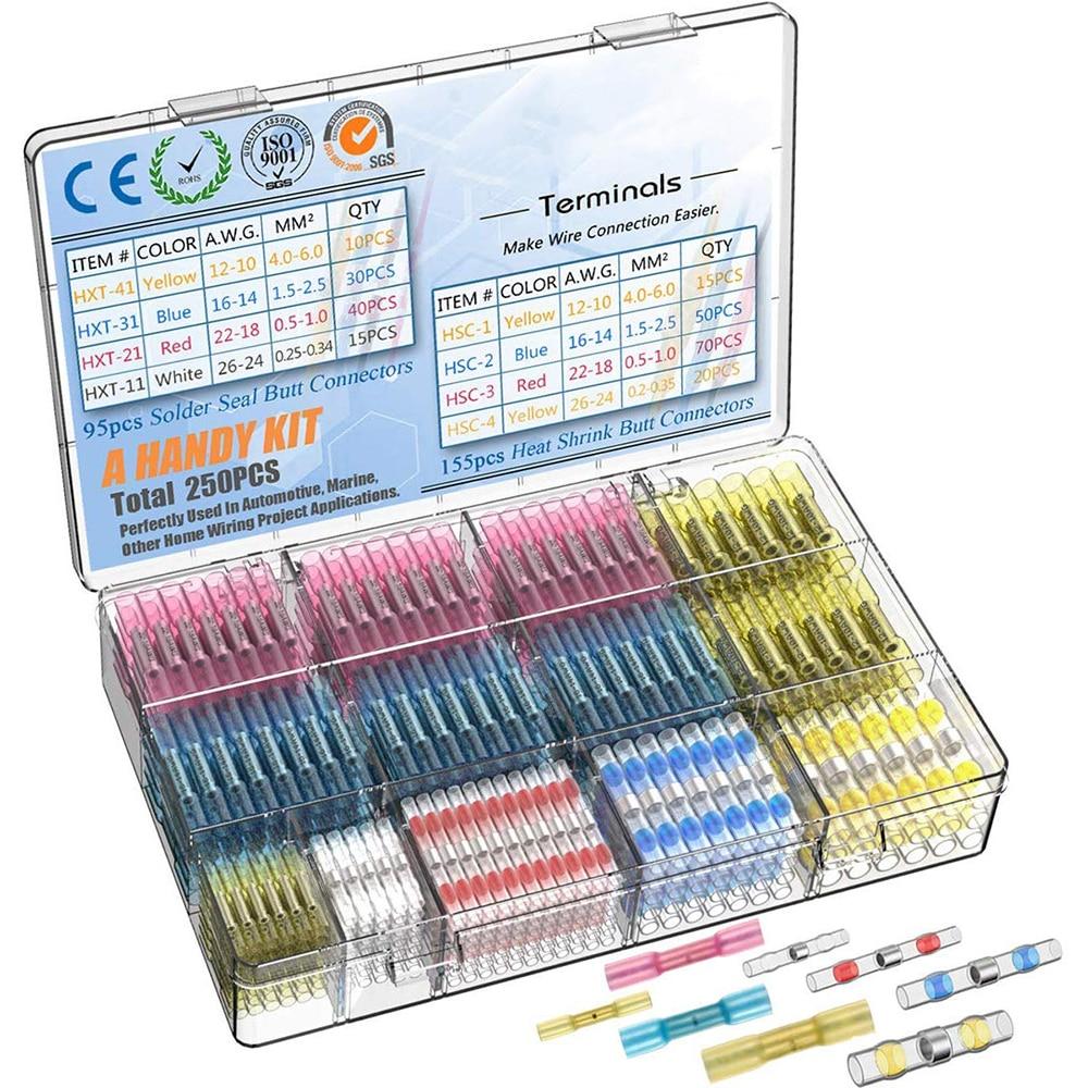 640 Uds termorretráctil conectores impermeable Alambre de soldadura conectores y funda termorretráctil-terminales conectores eléctricos 640x