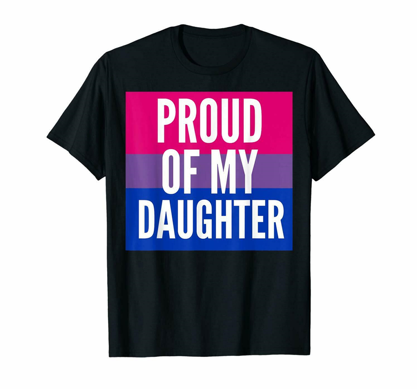 Black Proud Of My Bi Daughter - Proud Mom Or Dad <font><b>Bisexual</b></font> <font><b>T</b></font> <font><b>Shirt</b></font> 100% Cotton Free Shipping Light Tee <font><b>Shirt</b></font> image