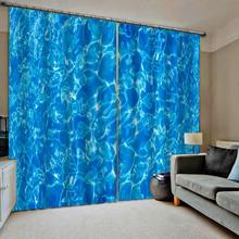 Blackout curtain Blue water curtains Bedroom 3D Window Curtain Luxury living room decorate Cortina
