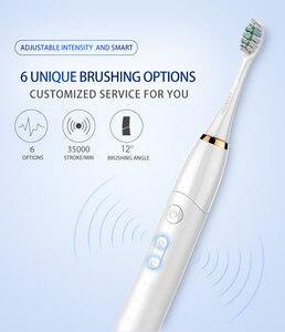 Image 4 - Elektryczna szczoteczka do zębów Sonic końcówki do szczoteczek dla dorosłych z IPX7 wodoodporny bezprzewodowy akumulator i 30 dni za pomocą czasu 6 Level chemiczna