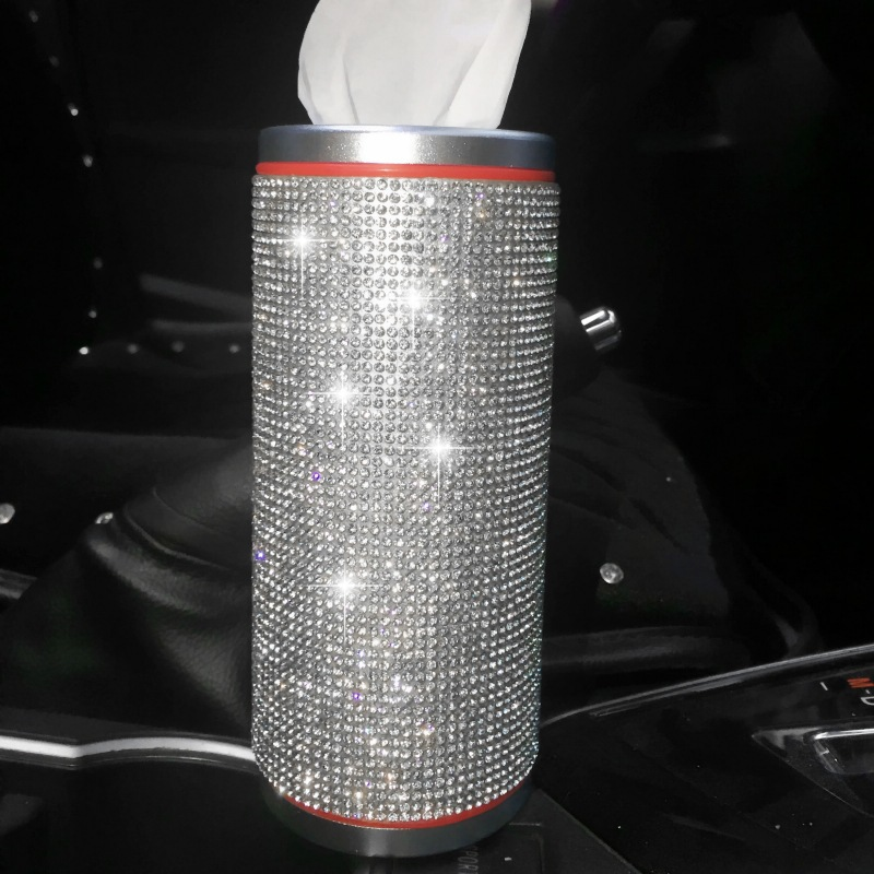 Car Tissue Box Car Mounted Tissue Box Creative Diamond Set Circle Tissue Box Cool Car With Paper Towel Tube New Style