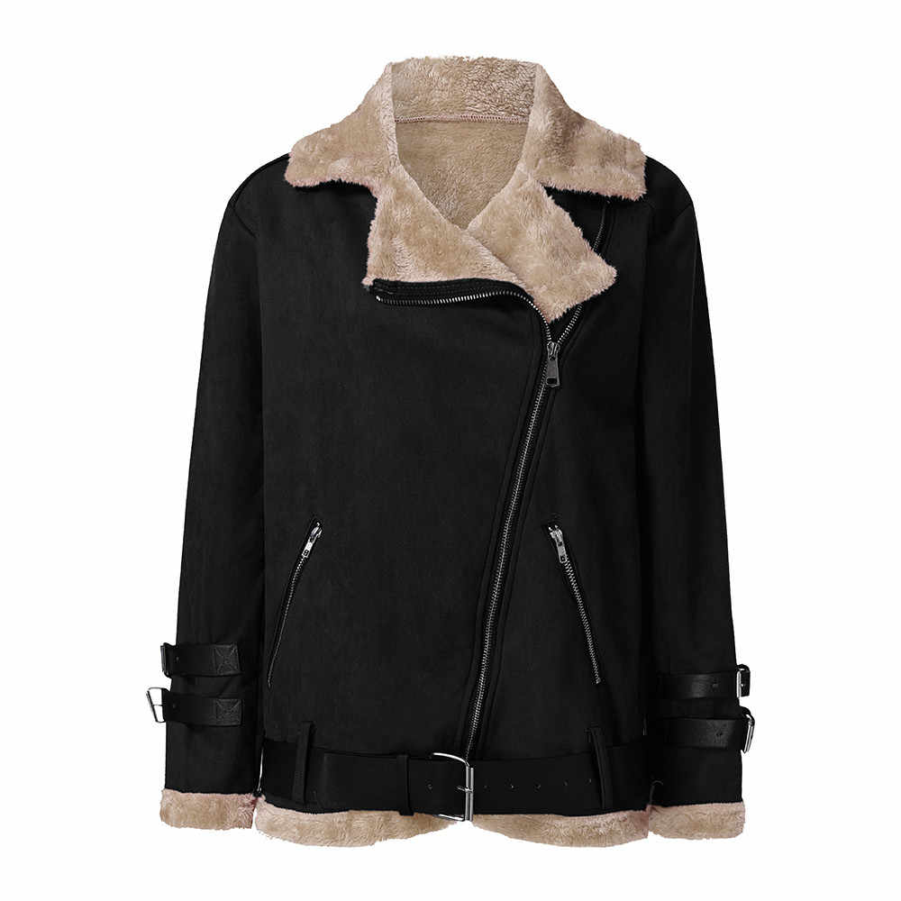 Winter jas vrouwen Winter Faux Fur Fleece Jas Uitloper Warm Revers Biker Motor Aviator manteau femme hiver #20181010