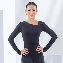 Latin Dance Practice Clothe Women Black Tops Long Sleeves Mesh Ballroom Shirt Female Tango Performance Dancing Costume DNV14517