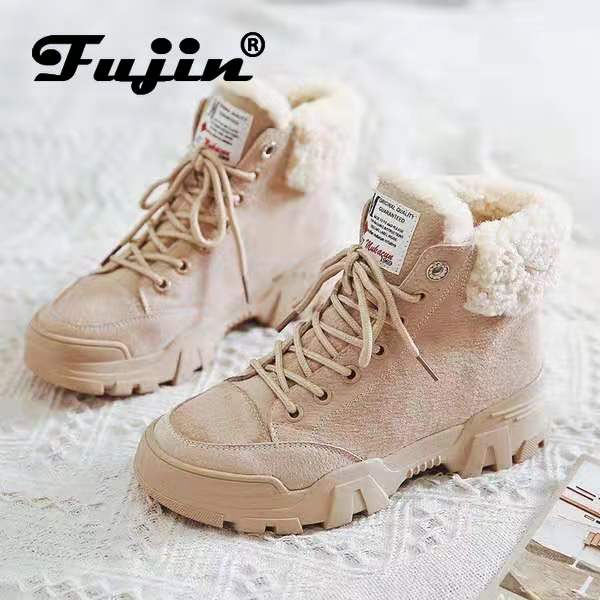fujin women snow boots beige plush warm fur causal boots shoes sneakers ankle booties platform thick sole lace up winter shoes
