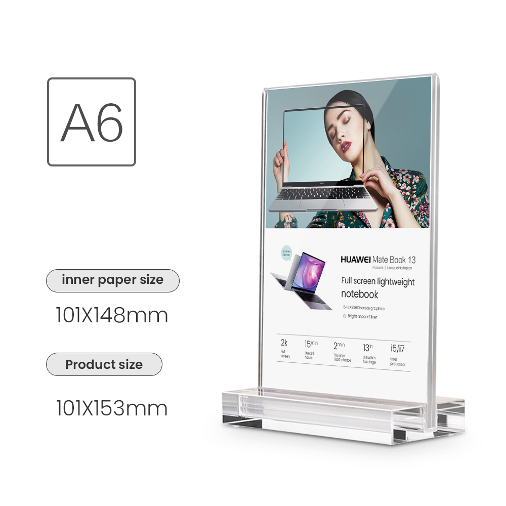 A6 Display Stand Clear Pure Acrylic Desktop Advertising Sign Board Sign Holder