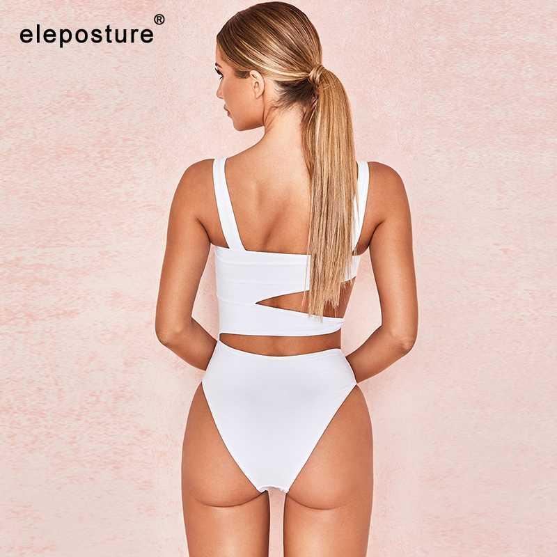 2019 Baru Seksi Putih One Piece Swimsuit Wanita Memotong Swimwear Push Up Monokini Pakaian Renang Pantai Baju Renang untuk Wanita