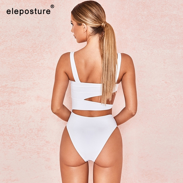 2020 nowy seksowny biały jednoczęściowy strój kąpielowy kobiety wyciąć stroje kąpielowe Push Up Monokini kostiumy kąpielowe bikini strój kąpielowy dla kobiet