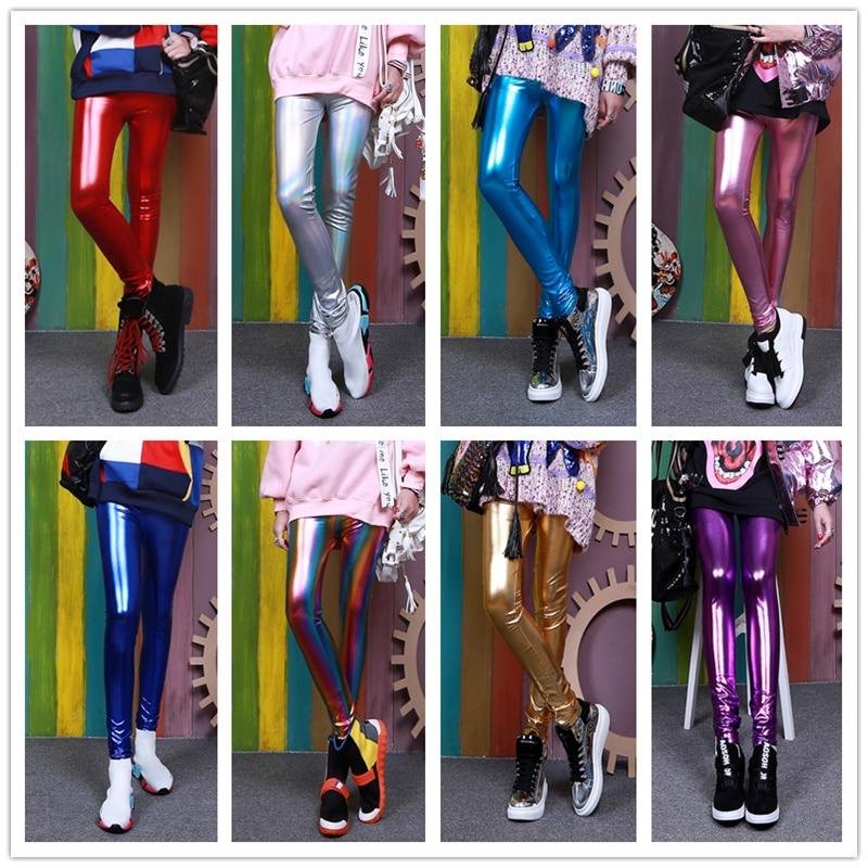 Timis Li Ladies Silver Metallic Shiny Laser Leather Leggings Women Candy Colors Leggings