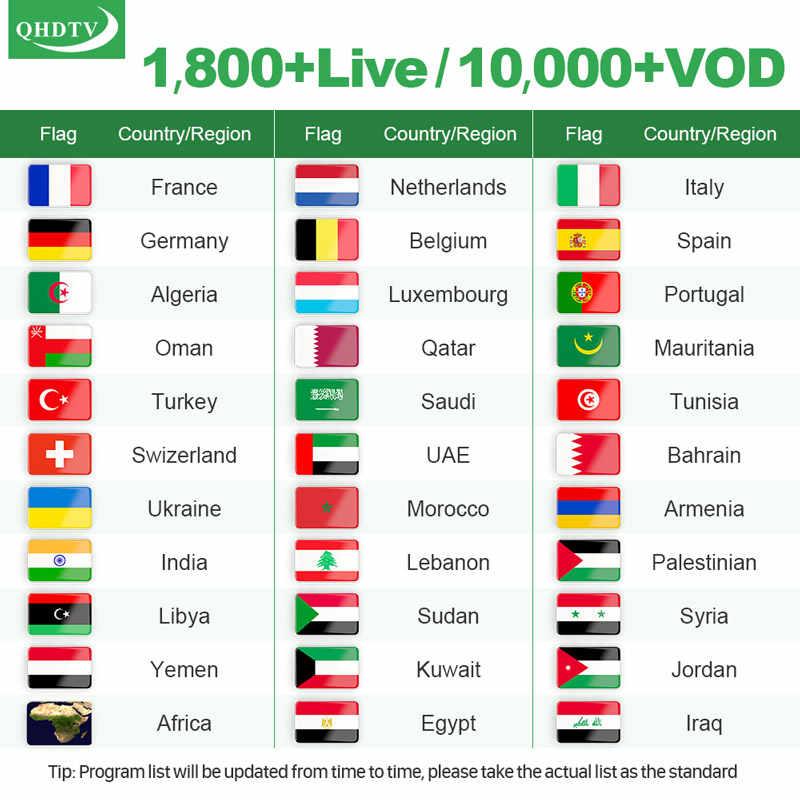 Caja de suscripción MX10 QHDTV IPTV Android 9,0 4G 64G USB3.0 RK3328 con QHDTV 1 año Código Árabe Francia Bélgica Países Bajos IP TV