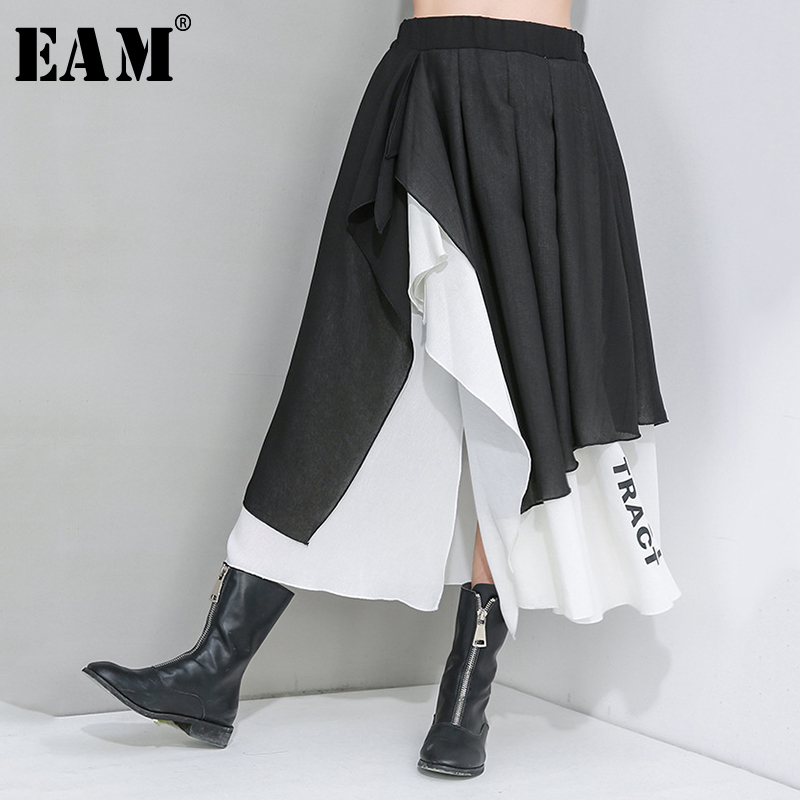 [EAM] High Elastic Waist Double Layers Letter Printed Asymmetrical Half-body Skirt Women Fashion New Spring Autumn 2020 1U047