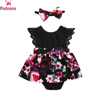 Summer Outfits Baby Girl Clothes Headband Printed Floral Dresses Newborn Infant Girls Romper Party Tutu Dress brilliant sequins burgundy lace petti romper dress headband newborn tutu sets baby girl summer clothes toddler girl clothing
