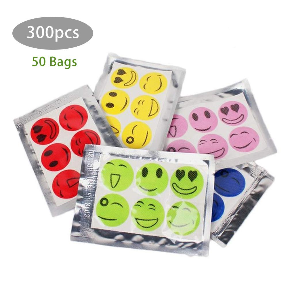 300pcs Smiley Mosquito Repellent Patches Stickers Non Toxic Pure Essential Oil Camping Travel Children Adult Repellent Sticker