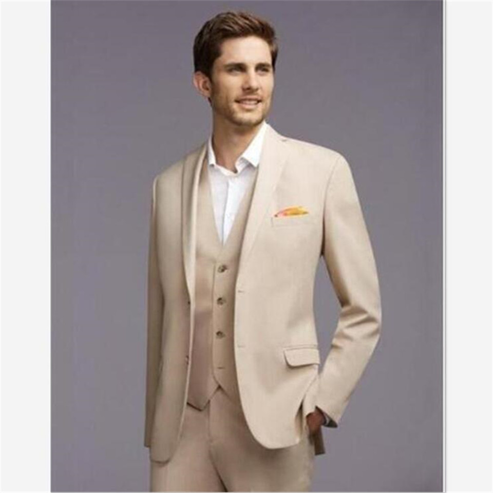 New Classic Men's Suit Smolking Noivo Terno Slim Fit Easculino Evening Suits For Men Casual British Style Cream Tuxedos Groom We