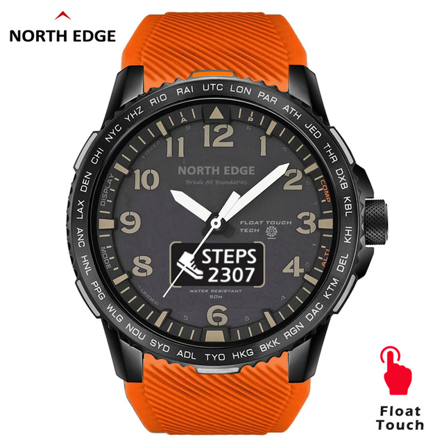 NORTHEDGEผู้ชายนาฬิกาดิจิตอลทหาร 50Mกันน้ำกีฬาHeart Rate Monitorบลูทูธสายรัดข้อมือ