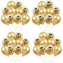10 pçs 30th 40th 50th 60th festa de aniversário confetes balões 30 40 50 60 anos de idade festa de aniversário adulto digital ballon ar globos