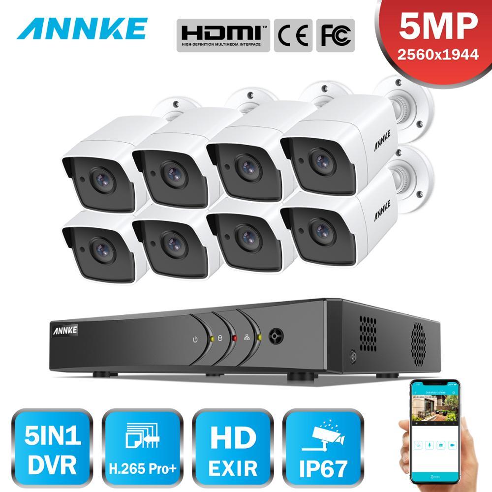 ANNKE 8CH 5MP Ultra HD CCTV sistema de cámara 5 en 1 H.265 + DVR con 8 Uds 5MP TVI impermeable blanco sistema de vigilancia de seguridad Kit