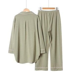 Image 4 - 2020 frühling Und Herbst Neue Frauen Einfarbig Einfache Stil Pyjamas Set Damen Komfort Baumwolle Große Größe Lose Homewear Für femme