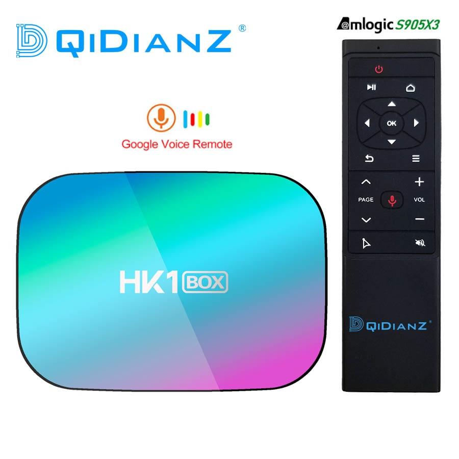 Hk1box smart tv box de 4 gb 128 gb 8 k, televisão smart em formato de amlogic s905x3, android 9.0, wi-fi 1080 p 4 k youtube conjunto de caixa superior hk1 caixa pk x96air x3 a95xf3