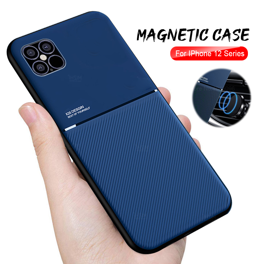 Iphone 12 Mini Case | For Iphone 12 Mini Case Shockproof Magnetic Car Holder Phone Cover On For Iphone 12 Pro Max Iphone12 Mini Leather Texture Coque