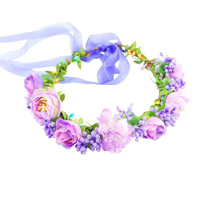 Детские, детские, 11 цветов, цветок, лоб, искусственные волосы с лентой, регулируемый, женский цветочный венок