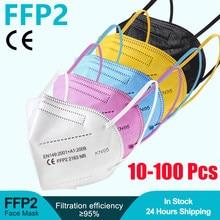 10-100 peças ffp2 ce máscara fpp2 aprovado kn95 mascarillas máscaras kn95 certificado preto boca tampas máscara para homem mulher ffp2mask
