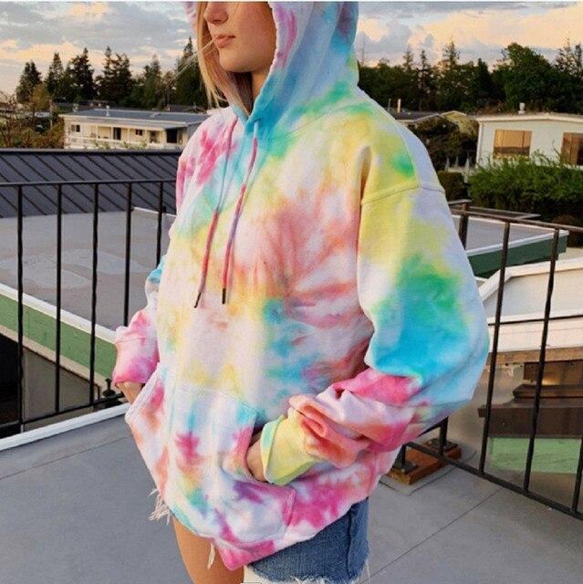 Rainbow Hoodies Women Sweatshirt Oversize Tie Dye Hoodie Streetwear Pullover Spring Autumn Casual Women Sweatshirts Hoddies Tops 1
