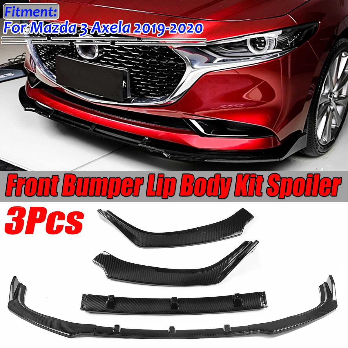New Carbon Fiber Look/Black Car Front Bumper Splitter Lip Spoiler Diffuser Guard Cover Trim Body Kit For Mazda 3 Axela 2019-2020