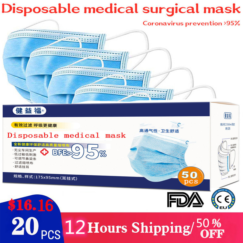 20 pieces pack font b disposable b font medical masks three layers of font b meltblown