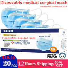 20 pieces / pack disposable medical masks three layers of meltblown cloth anti-coronary virus sanitary masks KN95 KF94