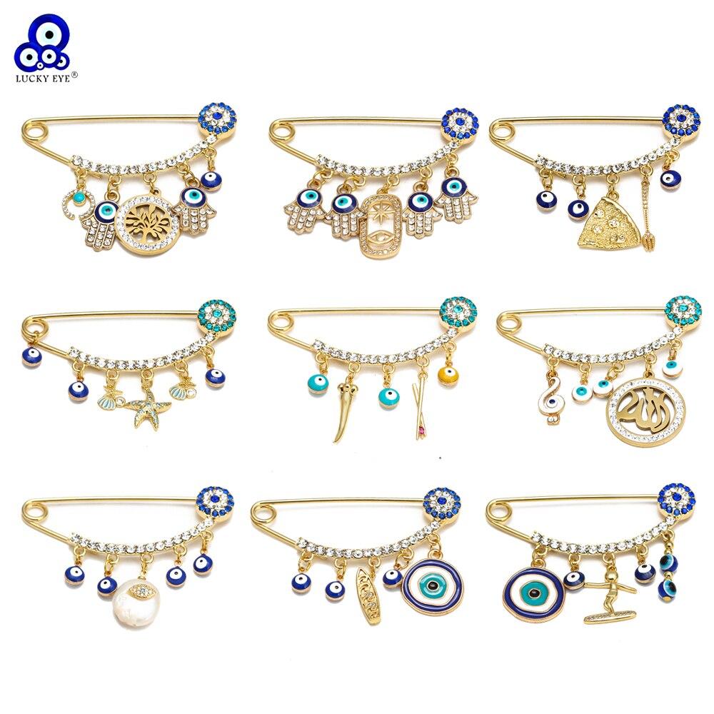 Lucky Eye Fatima Hand Heart Blue Turkish Evil Eye Brooch Pin Gold Silver Color Brooch for Women Girls Fashion Jewelry BE217
