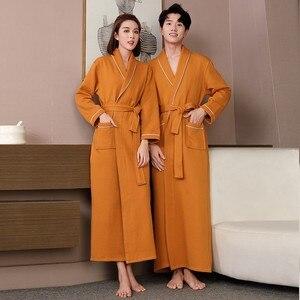 Image 5 - Lovers Autumn Robe Cotton Quilted Ultra Long Sleepwear Water Absorption Kimono Bathrobe Gown Warm Nightwear Sexy Nightgown
