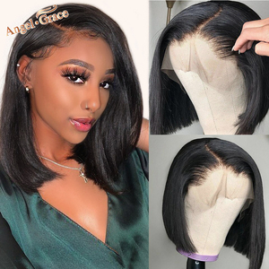 Angel Grace Bob Lace Front Wigs With Bangs 13X4 Brazilian Straight Lace Front Human Hair Bob Wigs Pre Plucked Closure Wigs Remy(China)