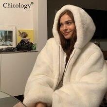 Chicology kürk kapşonlu uzun kollu ceket sıcak tutan kaban kadın kadife Windbreak 2020 sonbahar kış kırpma üst kore giyim Streetwear