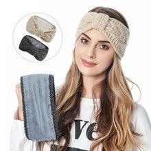 Moda arco inverno lã malha quente mulheres headbands com botões senhoras turbante esportes ao ar livre headwear fitas de cabelo mais veludo
