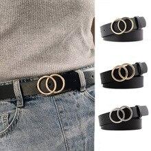 Мода PU кожа женщин пояса двойное кольцо пряжки конфеты цвета женский ремень пояс дамы платье брюк джинсы пояс