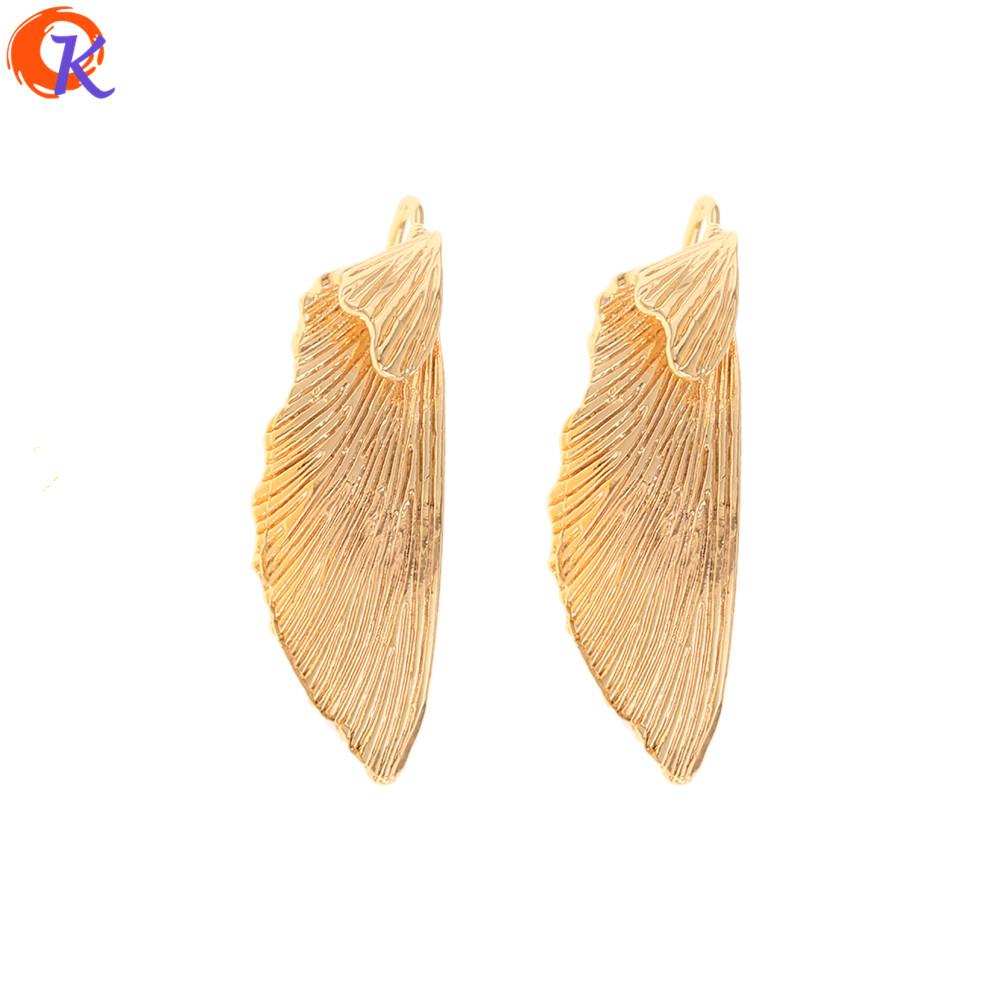 Cordial Design 20Pcs 11*35MM Jewelry Accessories/Hand Made/DIY Making/Genuine Gold Plating/Wing Shape/Silver Pin/Earrings Stud