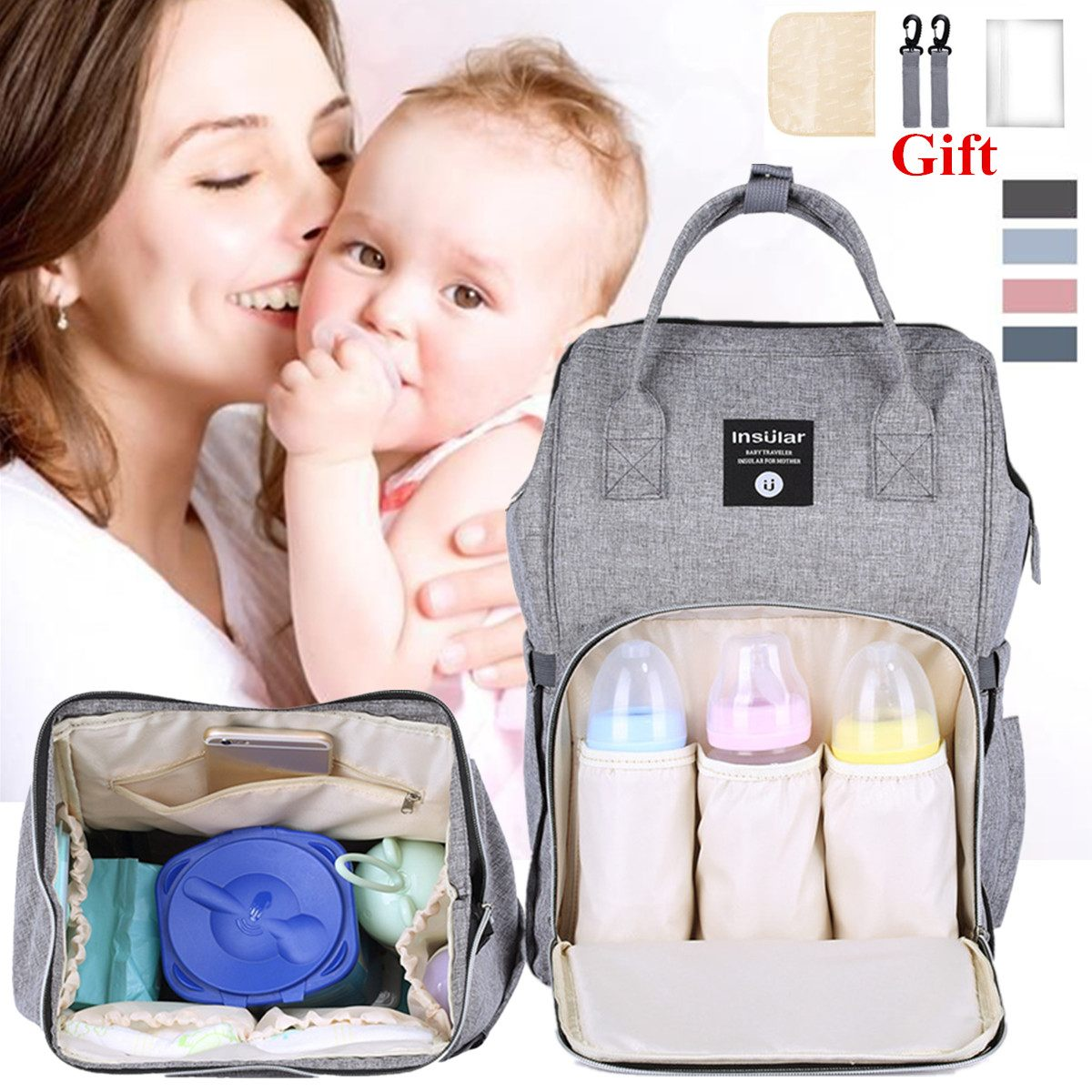 Nappy Backpack Bag Mummy Large Capacity Stroller Bag Mom Baby Multi-function Waterproof Outdoor Travel Diaper Bags Nursing Bag